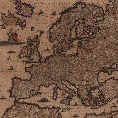 Map of Europe by Justus Danckerts, circa 1682-1695