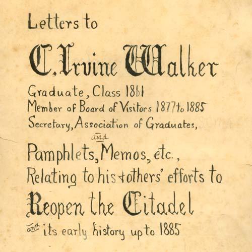 First page of the Letters to C. Irvine Walker