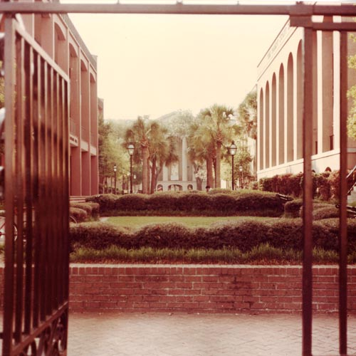 Photograph of the College Mall through the Calhoun St. gates.