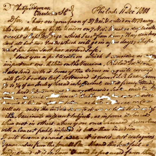 Handwritten letter from John Vaughan to Philip Tidyman, dated Dec.11, 1801.