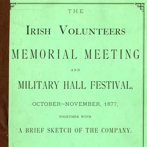Cover of a pamphlet commemorating the Irish Volunteers Memorial Meeting.