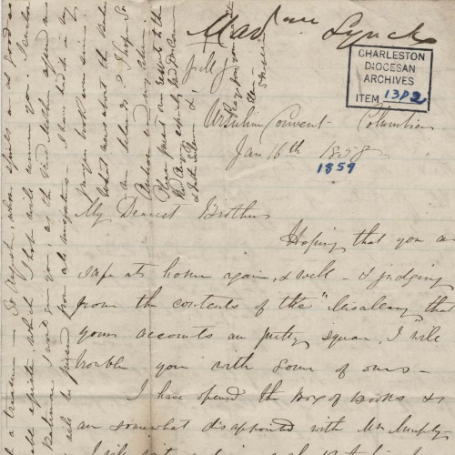 Lynch Family Letters, 1858-1866