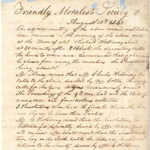 A handwritten page from the proceedings of the Friendly Moralist Society, 1841