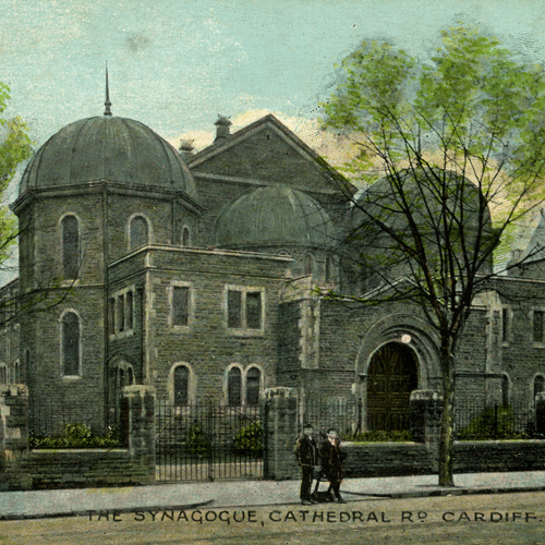 Color postcard depicting the Cardiff United Synagogue, Wales