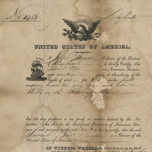 Samuel Pope, Seaman's Protection Certificate, 1820