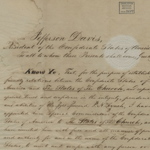 Collection of Bishop Patrick Lynch Confederate Commissioner Papers, 1864-1865